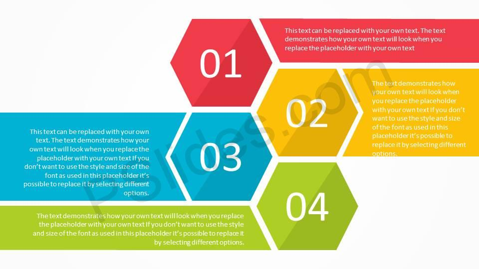 free modern hexagon list and agenda powerpoint template