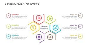 6 Steps Circular Thin Arrows