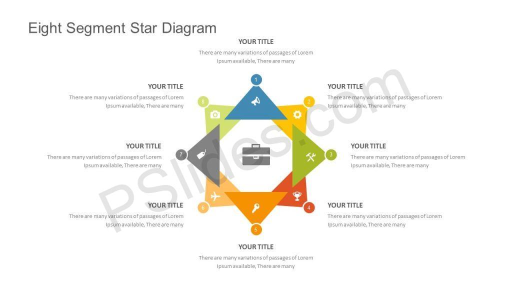 Eight Segment Star Diagram for PowerPoint