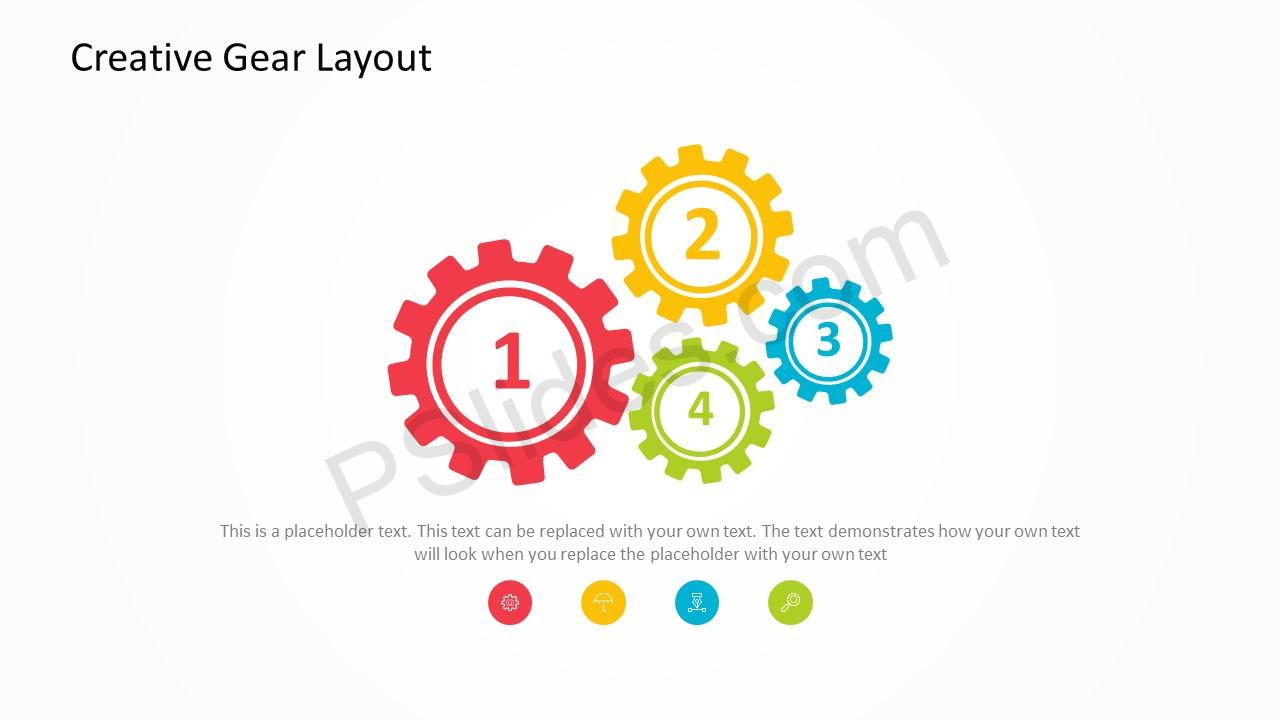 free creative gears powerpoint template, Modern powerpoint