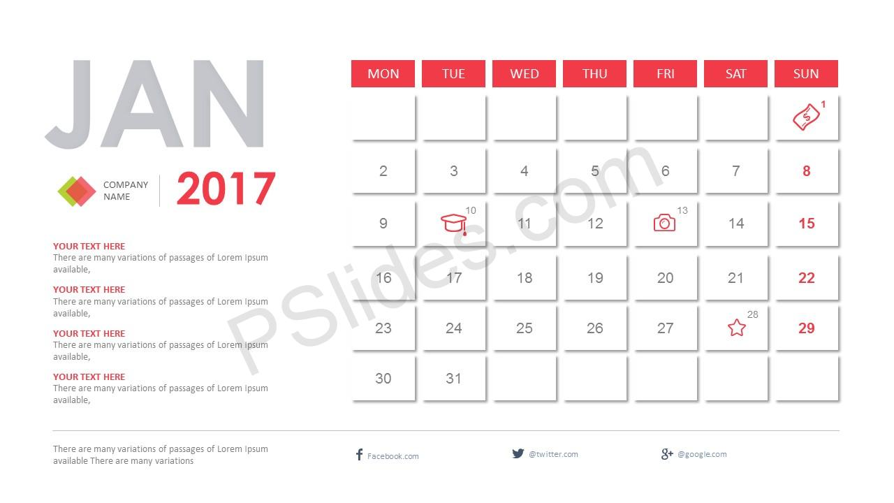 2017 calendar powerpoint template. Black Bedroom Furniture Sets. Home Design Ideas
