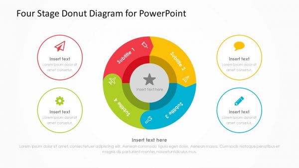 Four Stage Donut Diagram for PowerPoint 2