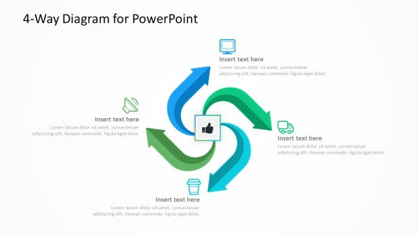 4 arrows moving out from a central points - PowerPoint Template