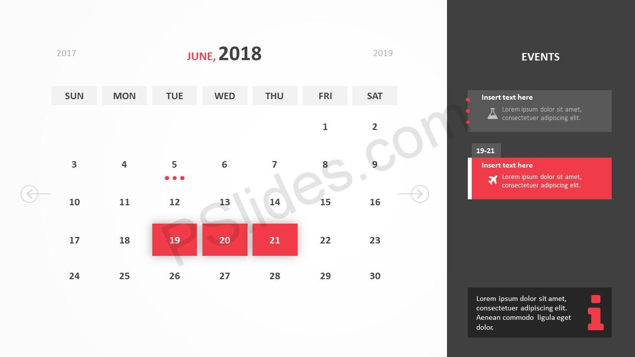 free 2018 calendar powerpoint template pslides. Black Bedroom Furniture Sets. Home Design Ideas