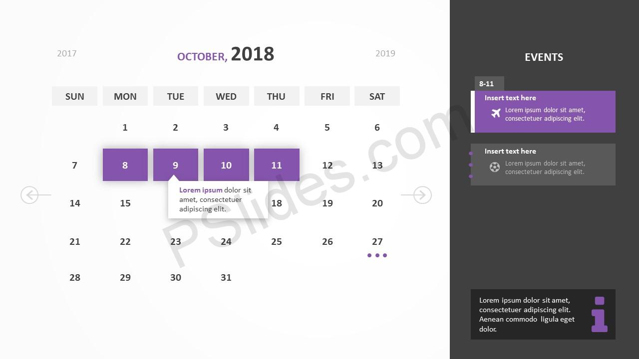 Free 2018 calendar powerpoint template pslides october 2018 calendar powerpoint template toneelgroepblik Image collections
