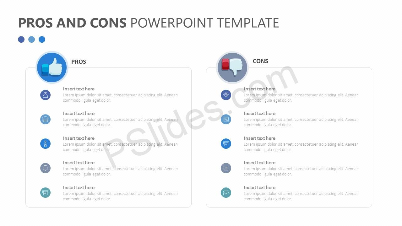 free pros and cons powerpoint template - pslides, Powerpoint templates