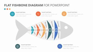 Flat Fishbone (Ishikawa) Diagram for PowerPoint
