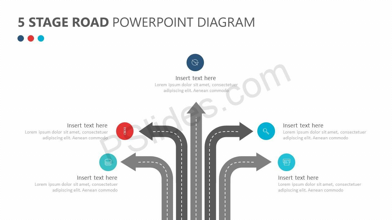 5 stage road powerpoint diagram