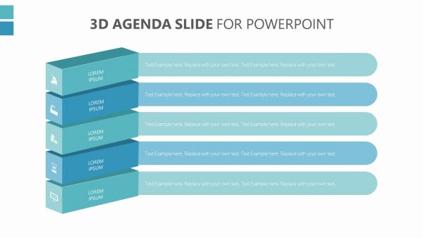 3D Agenda Slide for PowerPoint