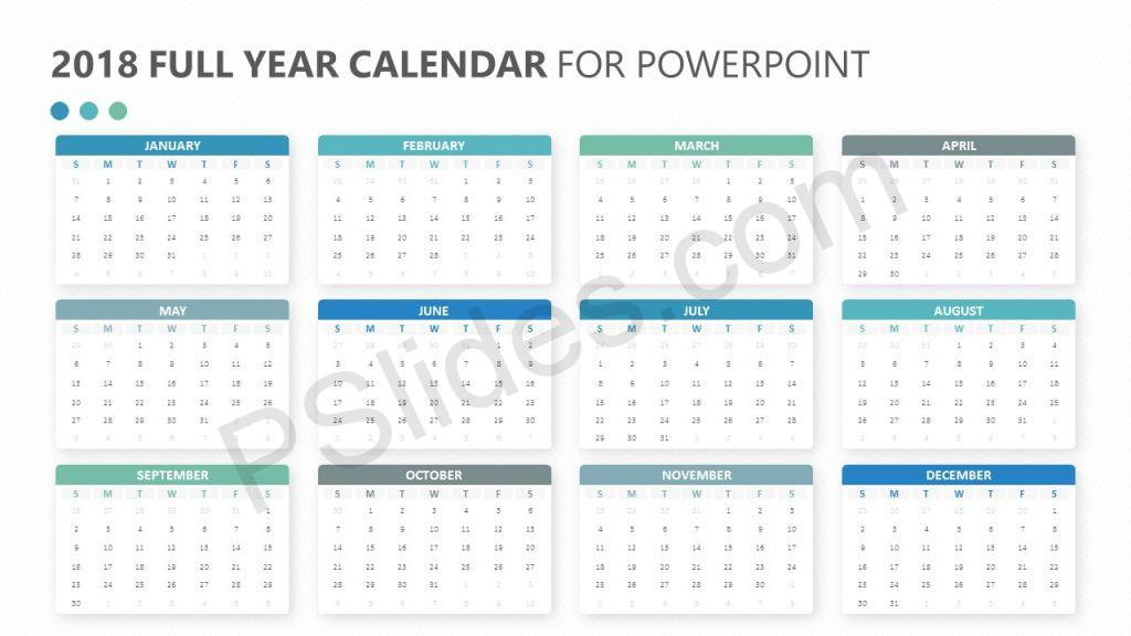 2018 Full Year Calendar for PowerPoint Slide 1