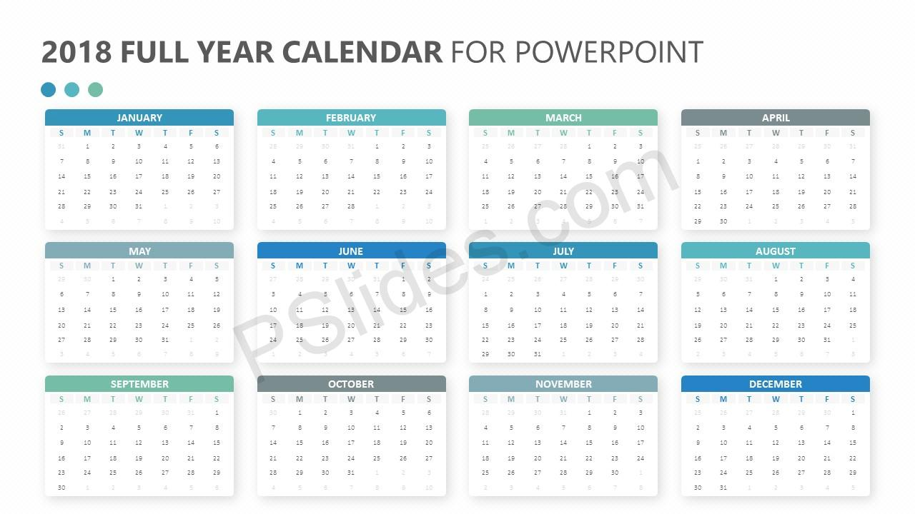 2018 full year calendar for powerpoint pslides. Black Bedroom Furniture Sets. Home Design Ideas