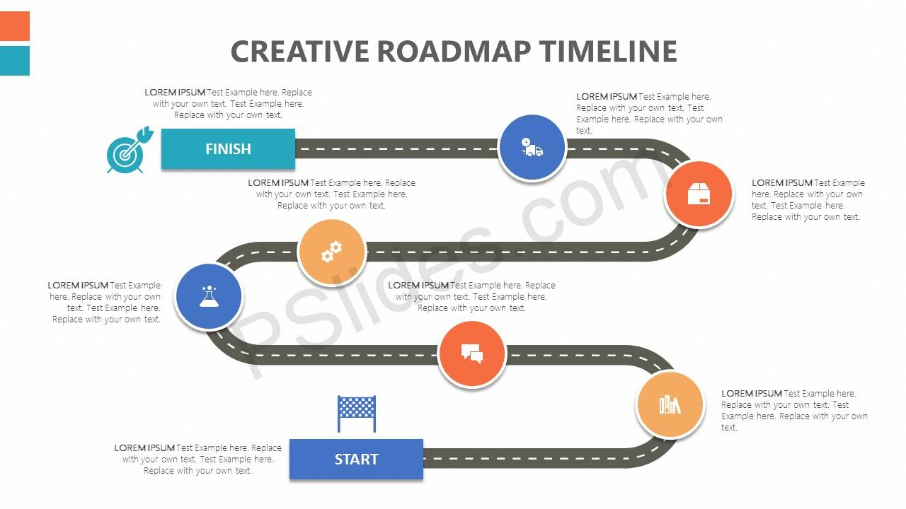 Creative Roadmap PowerPoint Timeline Pslides - Timeline roadmap template