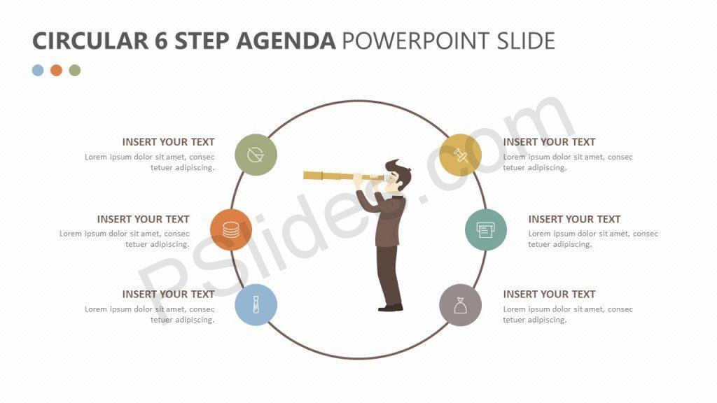 Circular 6 Step Agenda PowerPoint Slide 1