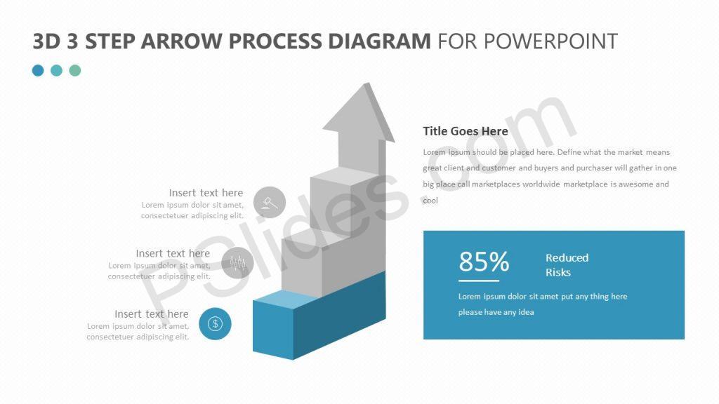3D 3 Step Arrow Diagram Slide 1