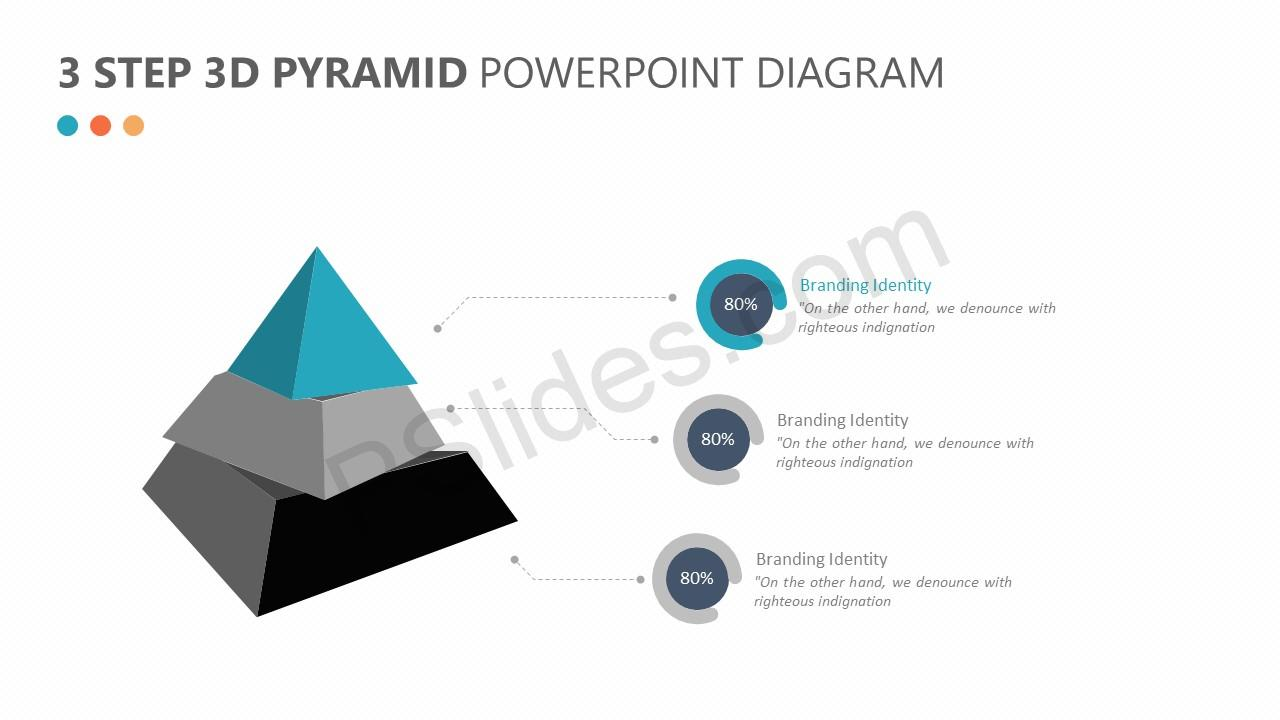 3 step 3d pyramid powerpoint diagram - pslides, Powerpoint templates