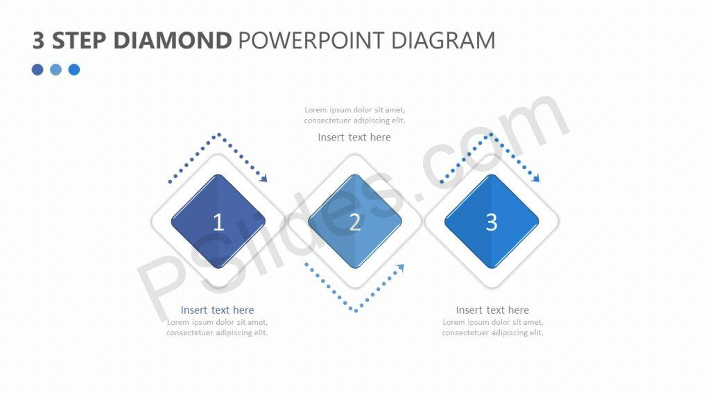 3 Step Diamond PowerPoint Diagram Slide 1