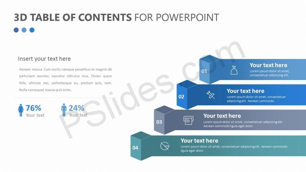 Free  3D Table of Contents for PowerPoint
