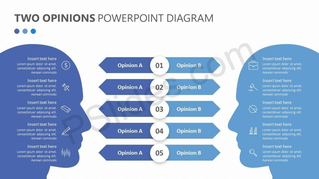 Two Opinions PowerPoint Diagram Slide 1