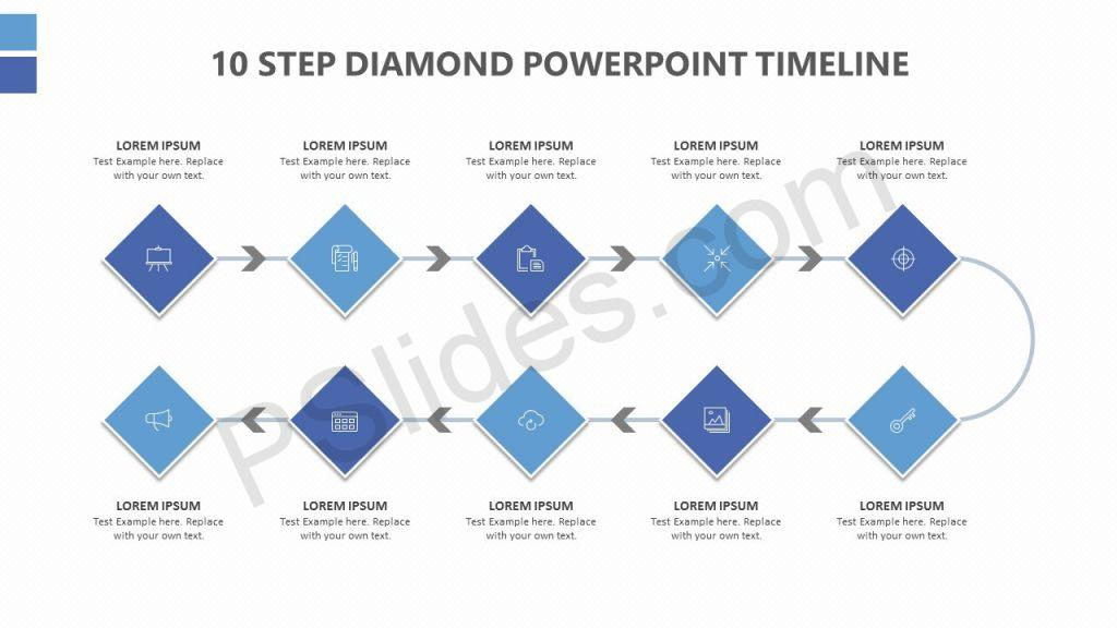 10 Step Diamond PowerPoint Timeline Slide 1