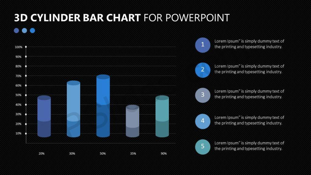 3D Cylinder Bar Chart for PowerPoint