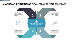 4 Arrows Pointing at Goal PowerPoint Template
