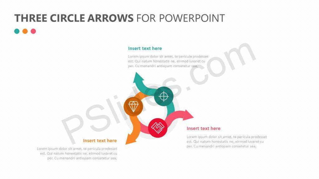 Three Circle Arrows for PowerPoint