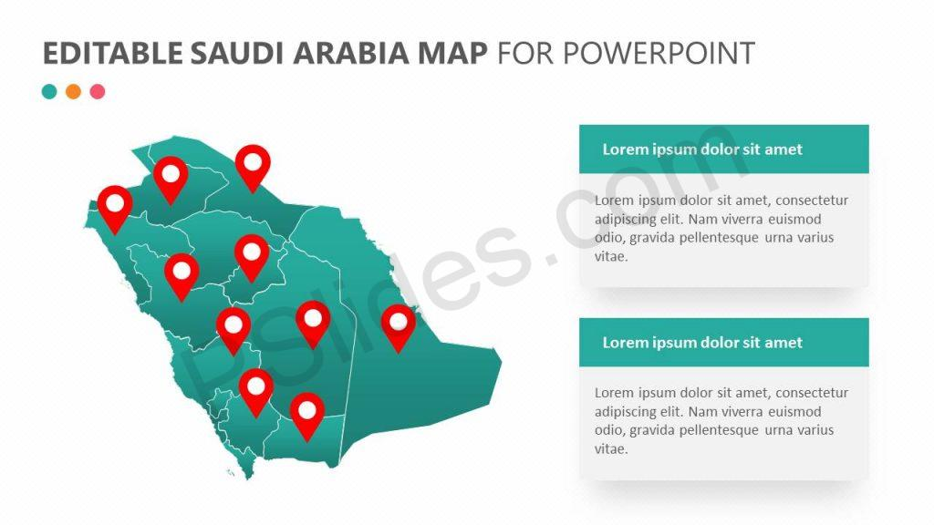 Editable Saudi Arabia Map For PowerPoint