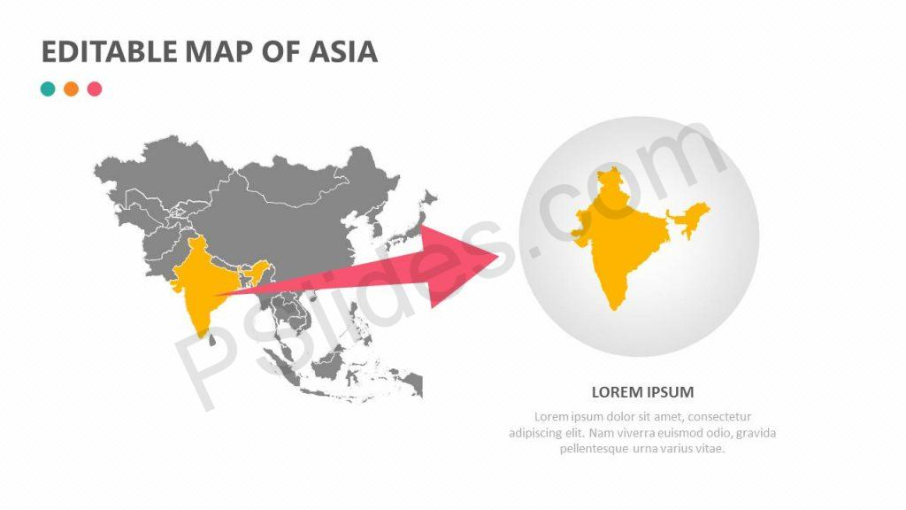 Editable Map of Asia