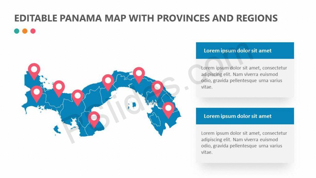 Editable Panama Map With Provinces and Regions