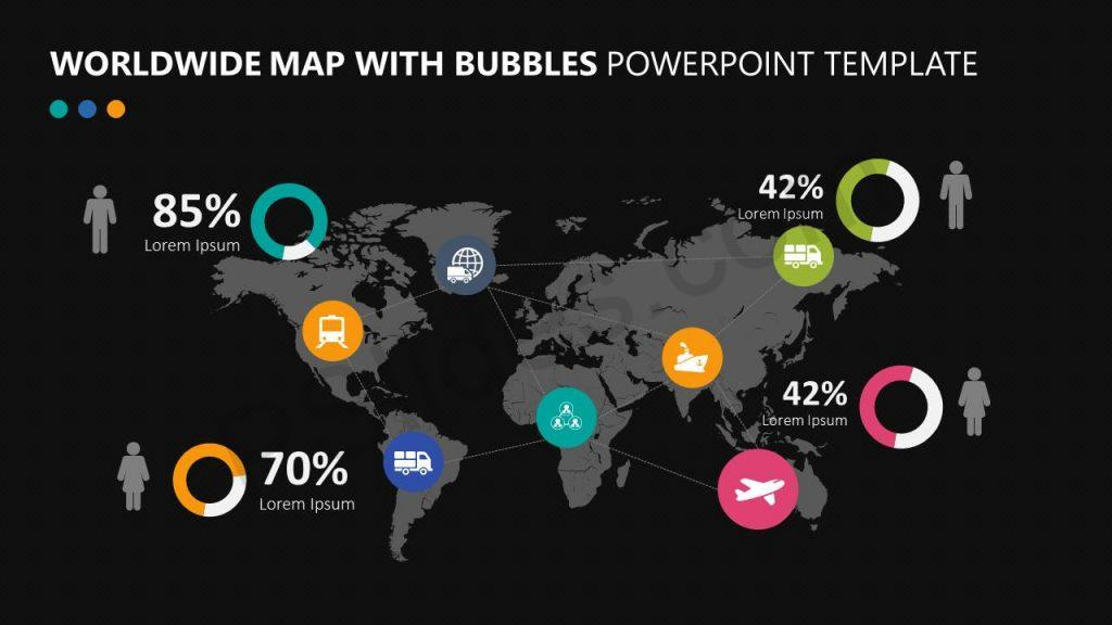 Worldwide Map With Bubbles PowerPoint