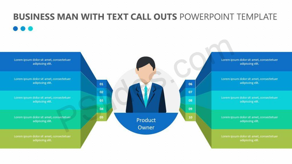 Business Man with Text Call Outs Powerpoint Template