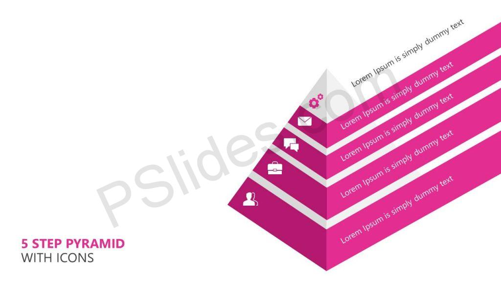 5 Step Pyramid With Icons Slide1