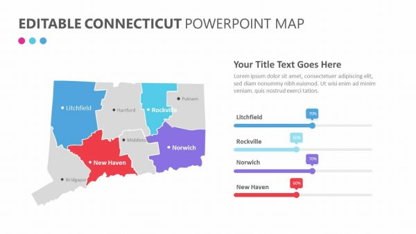 Editable Connecticut PowerPoint Map