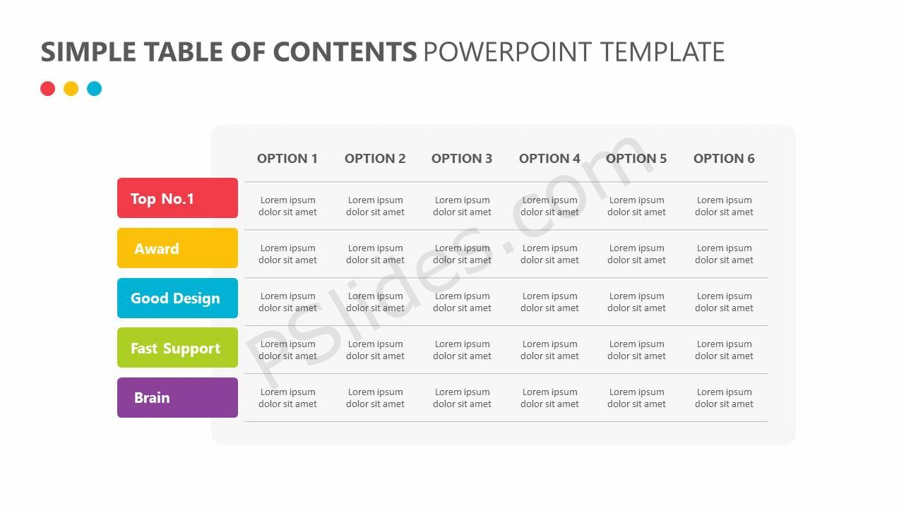 Simple table of contents powerpoint template pslides simple table of contents powerpoint template alramifo Images