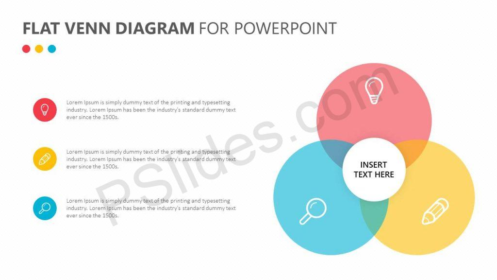 Free Flat Venn Diagram for PowerPoint