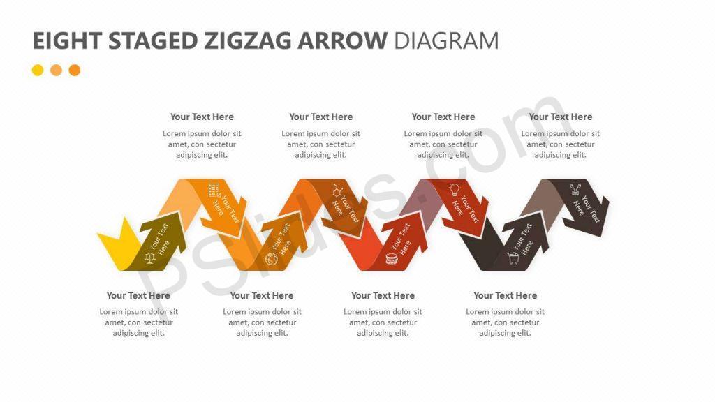 Eight Staged Zigzag Arrow Diagram Slide 1