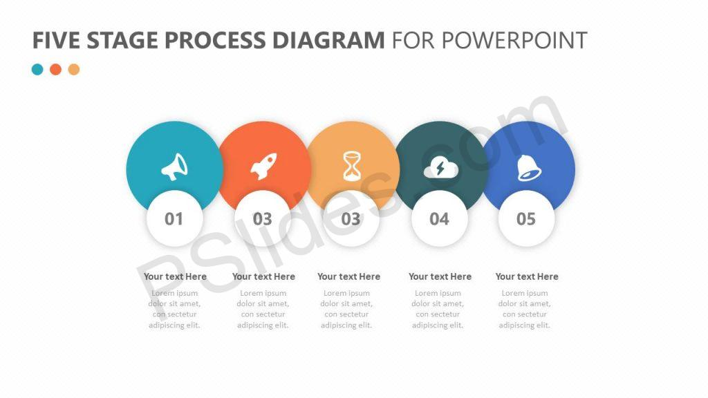 Five Stage Process Diagram for PowerPoint Slide 1