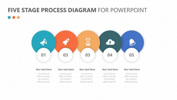 Five Stage Process Diagram for PowerPoint