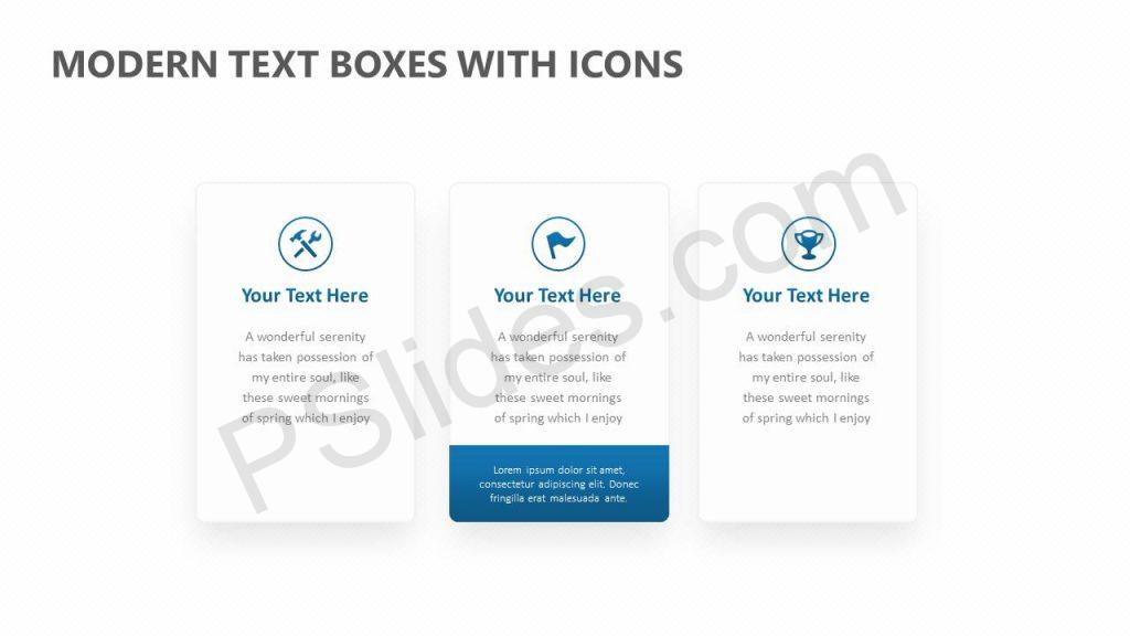 Modern Text Boxes with Icons Slide 1