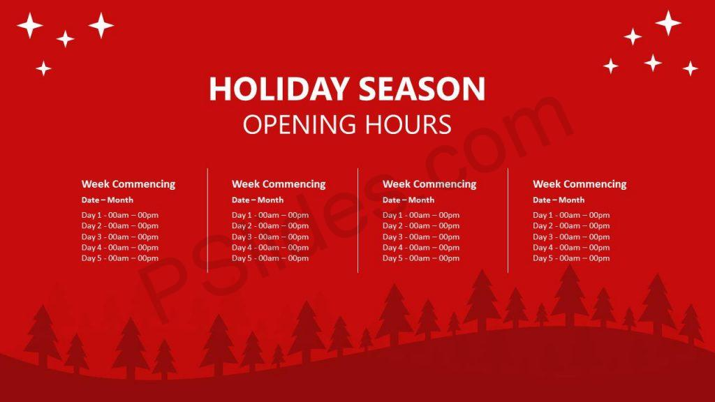 Holiday Season Opening Hours Slide1