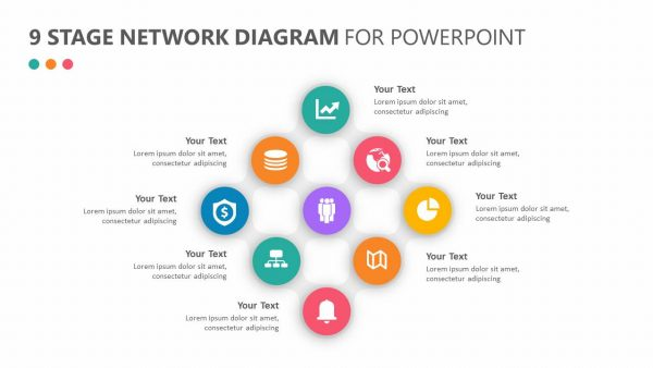 9 Stage Network Diagram for PowerPoint
