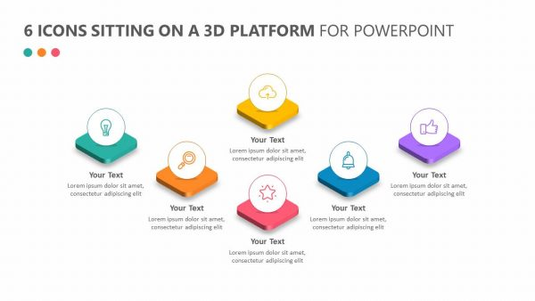 6 Icons Sitting on a 3D Platform