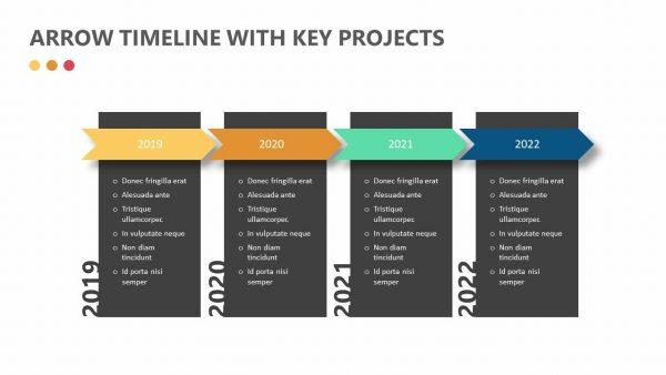 Arrow Timeline with Key Projects
