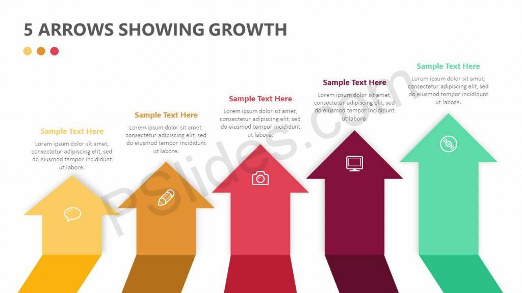 5 Arrows Showing Growth