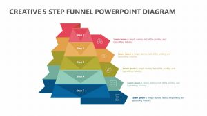 Creative 5 Step Funnel PowerPoint Diagram