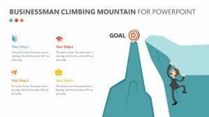 Businessman Climbing Mountain PPT
